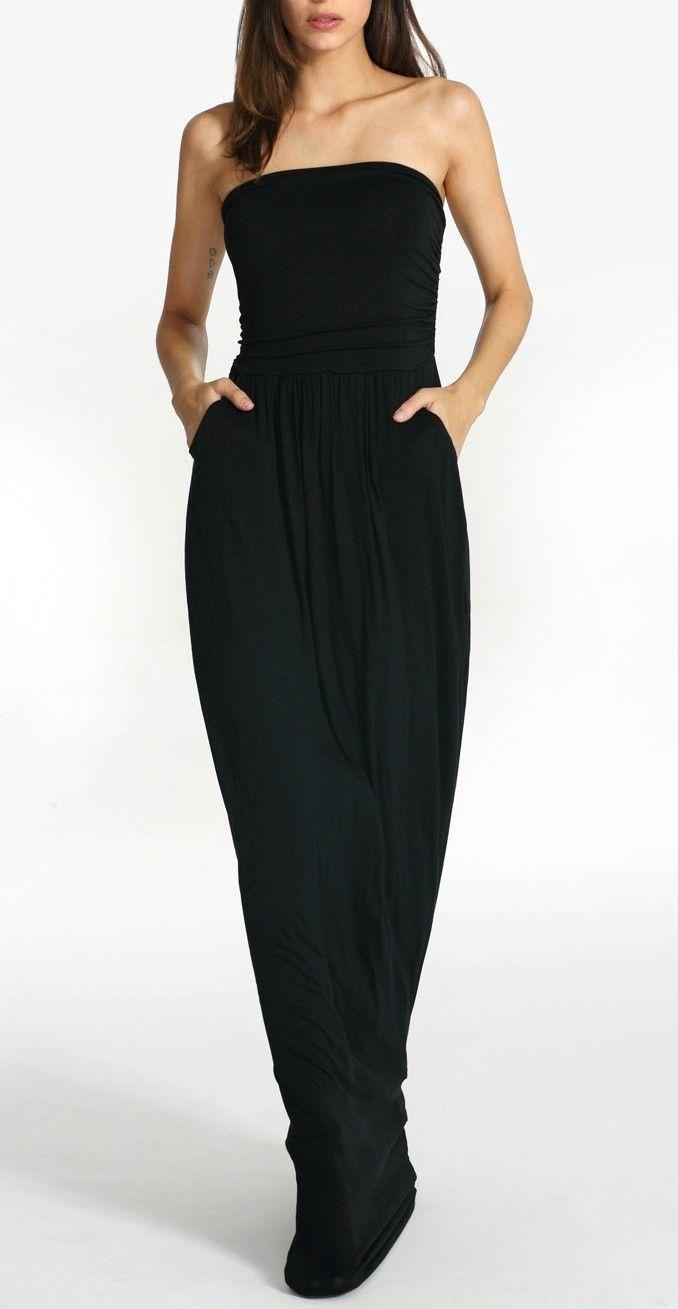 Свадьба - Black Strapless Pockets Maxi Dress -SheIn(Sheinside)