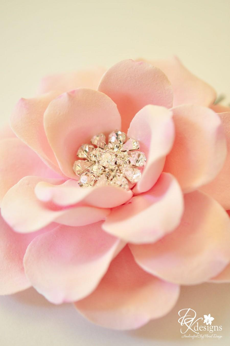 Mariage - COUTURE CLAY - Made to Order Light Pink Open Rose with Rhinestone Center Hair Flower