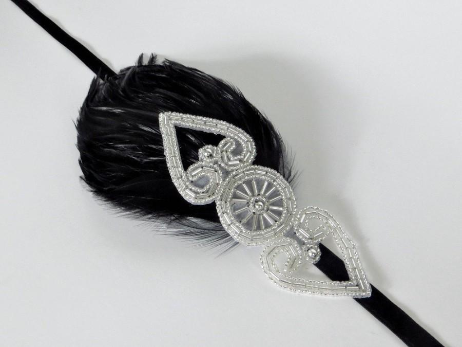Mariage - Wedding Headband, Bridal Headpiece, 1920s Headband for Flapper Dress, Silver Gatsby Cream OR Black Feather Headband