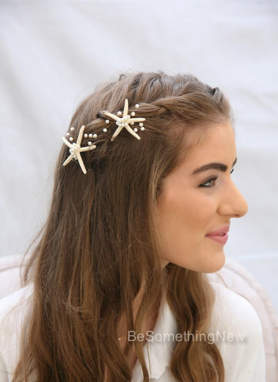 Beach wedding starfish and pearl bobby pin set nautical wedding beach wedding starfish and pearl bobby pin set nautical wedding hair pins destination wedding beaded headpiece with star fish and pearls junglespirit Image collections
