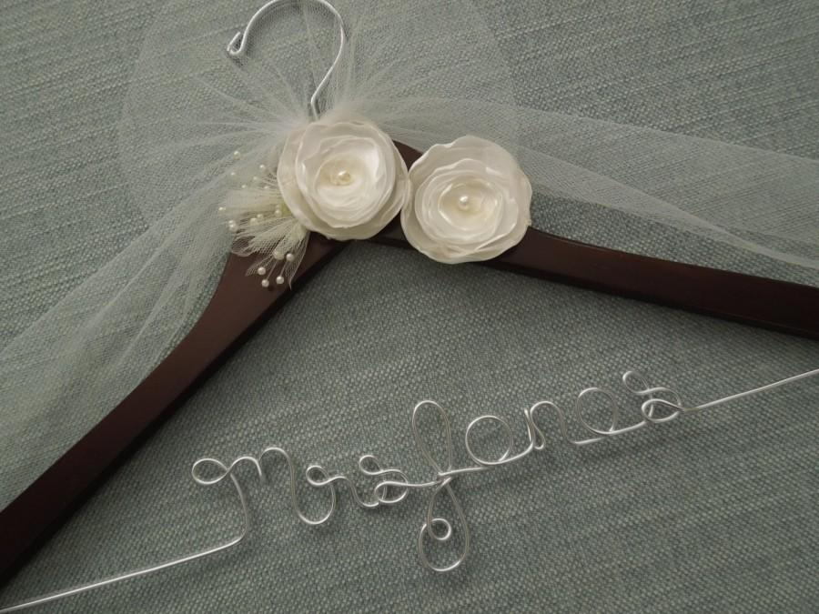 Personalized wedding hanger ivory flowers bridal hanger for Wedding dress hangers with name