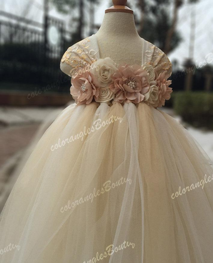 2e64a1471cb Flower Girl Dress Lace Chiffton Flowers Ivory Champagne Tutu Dress ...