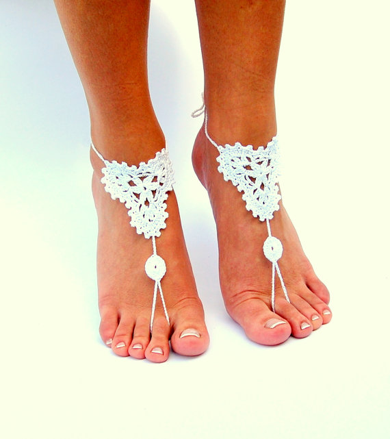 Wedding - Crochet Barefoot Sandals, Beach wedding shoes, Wedding Accessory, Nude shoes, Anklet, Foot Jewelry