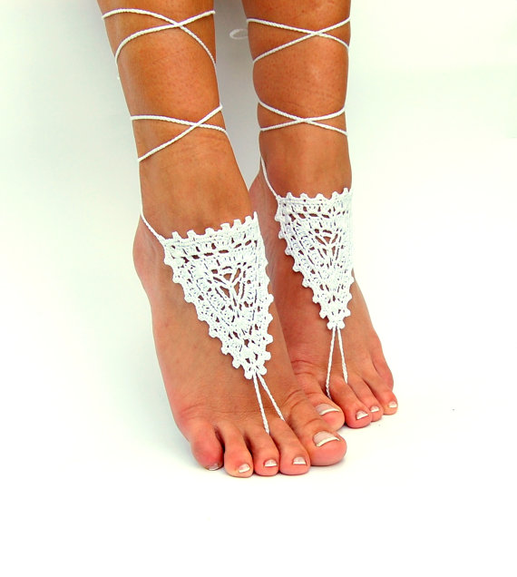 Wedding - Barefoot Sandals, Beach wedding shoes, Wedding Accessory, Nude shoes, Anklet, Foot Jewelry