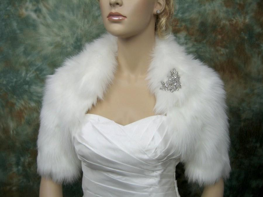 Wedding - Sale - Ivory faux fur bolero jacket shrug Wrap FB005-Ivory - was 89.99
