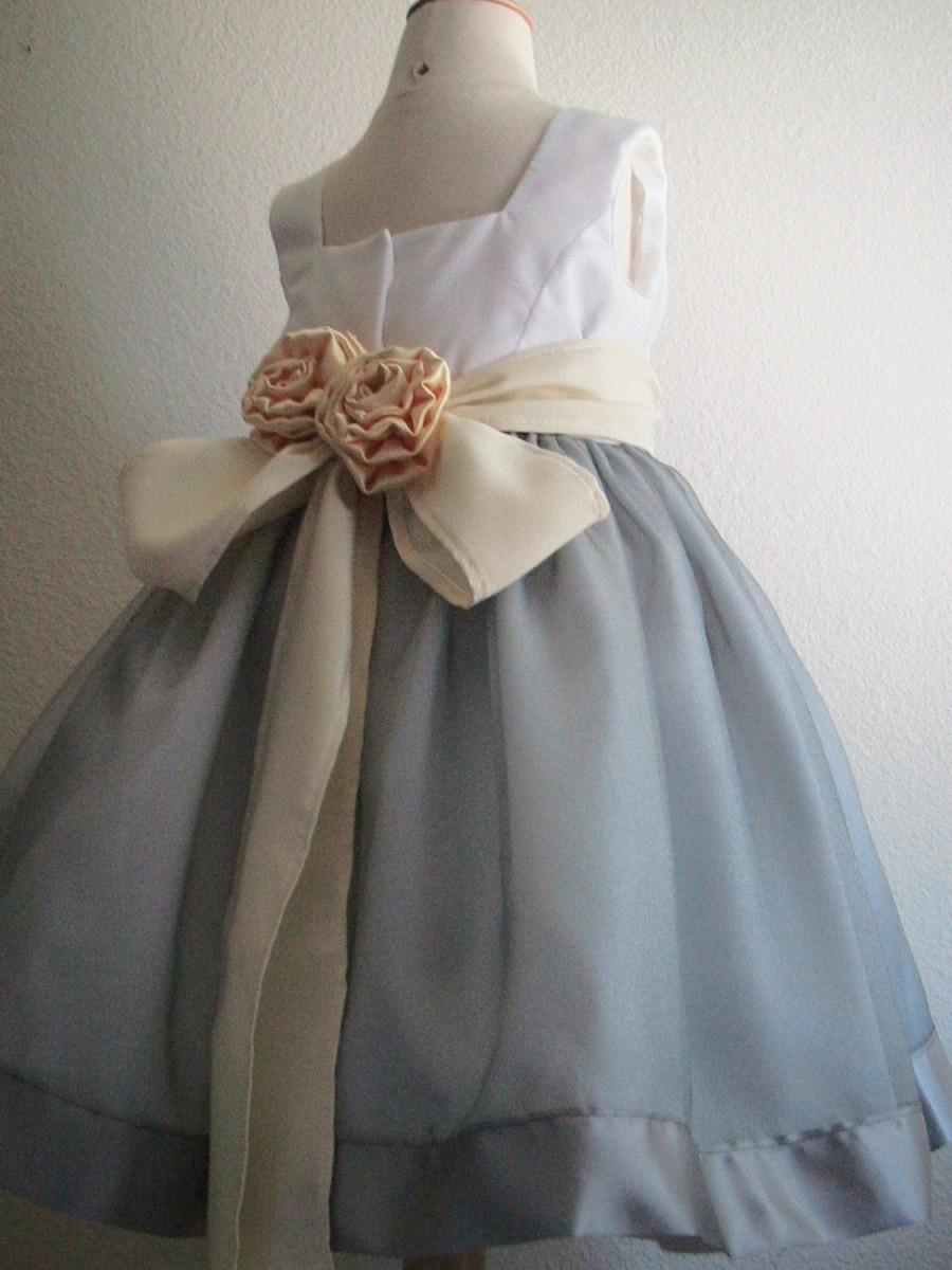 Silver And White Satin Organza Girls Dress For Flower Girl Or
