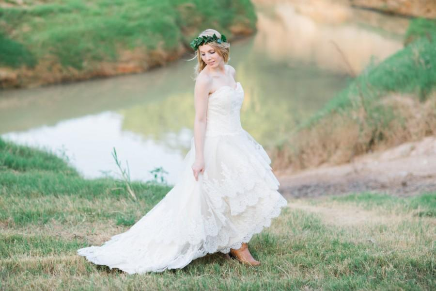 Hochzeit - Country Wedding Dress with Lace High Low Hem - The Guinevere Dress