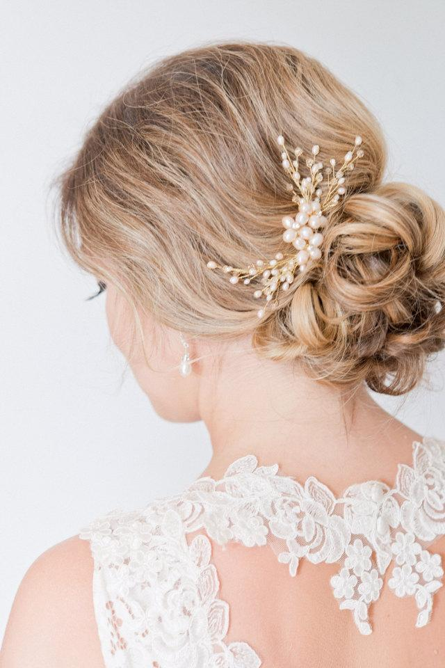 زفاف - Blush Hairpiece, Bridal Hairpiece, Pearl Bridal Hair Comb