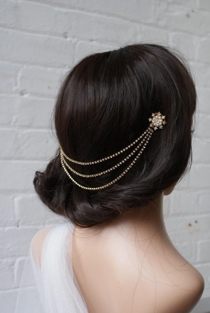 1920s Head Chain In Goldtone Wedding Hair Accessory Hair