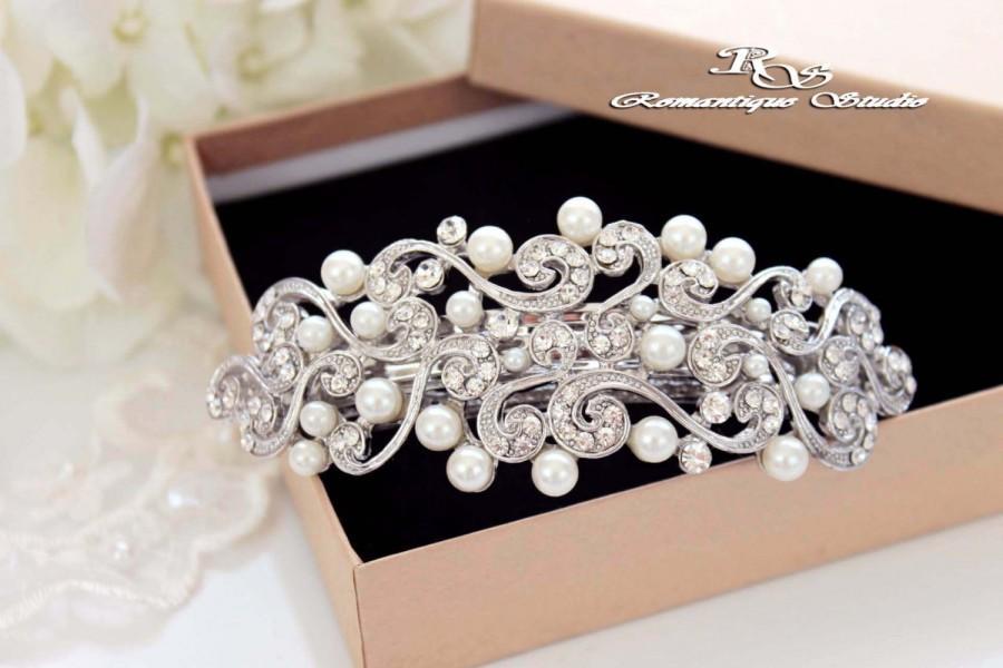 زفاف - Wedding hair barrette pearl and crystal bridal hair clip hair piece hair comb Bridal hair accessories Hair barrette 5180