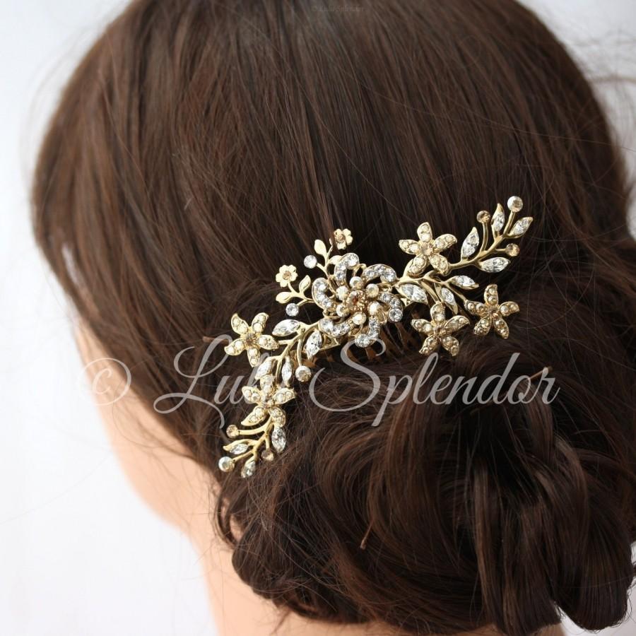 زفاف - Gold Bridal Hair Comb Sparkly Crystal flower Comb Ivory Pearl Vintage Leaves Wedding Hair Accessories, Sabine