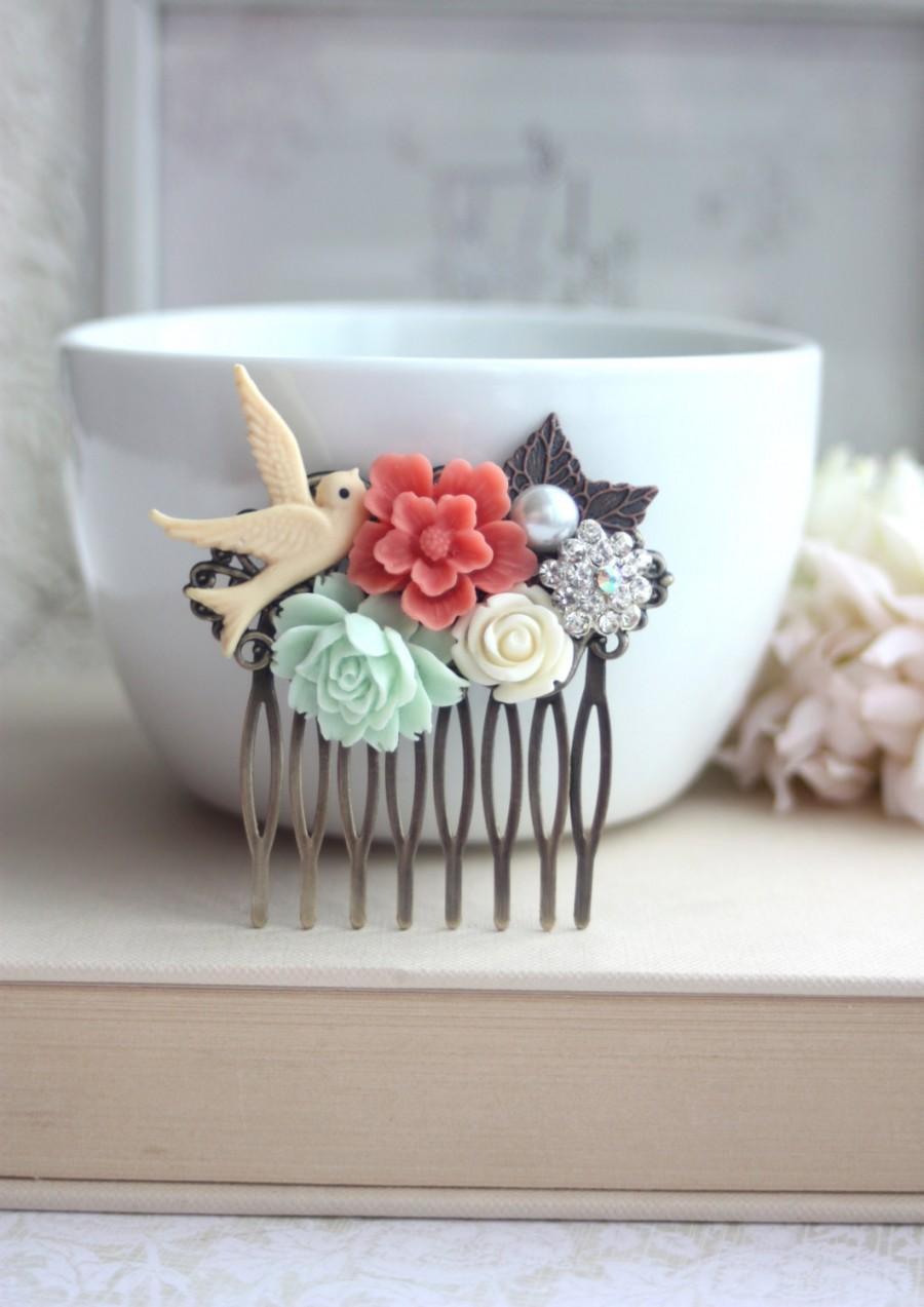 زفاف - Flower Collage Hair Comb. Coral Sakura Flower, Mint Rose, Pearl, Ivory, Swallow, Leaf Comb. Bridesmaids Gift, Wedding. Bridal Comb.