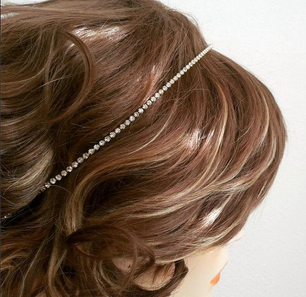 زفاف - Gold Bridal Headband, Rhinestone Headband Wedding, Bridal Hair Band, Prom Headpiece, Bridesmaid Headpiece, Sparkly Headpiece, Bride Headband
