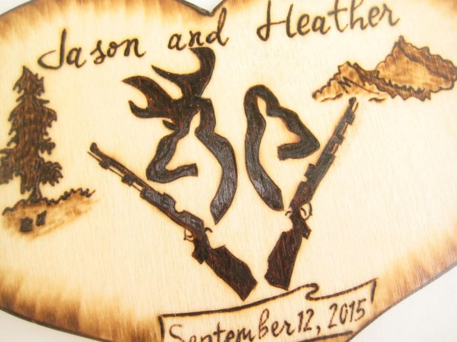 Deer Hunting Cake Topper Buck And Doe Heads Camo Wedding Decor Guns Anniversary Personalizable