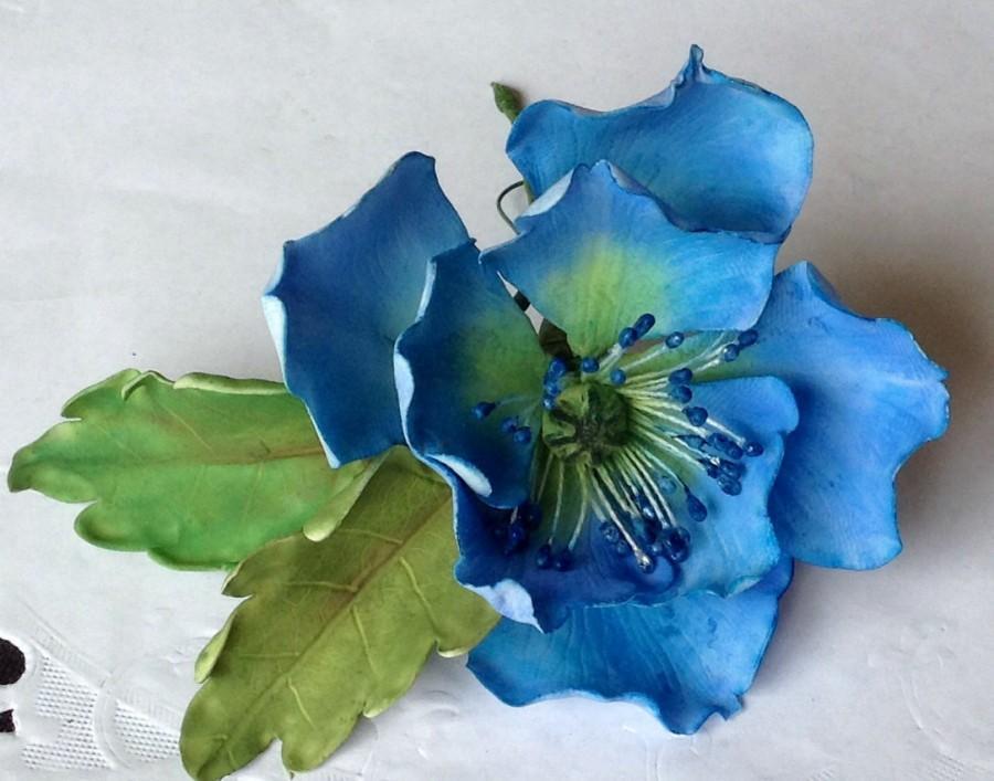 Custom order gum paste wedding blue poppy flower cake topper custom order gum paste wedding blue poppy flower cake topper mightylinksfo