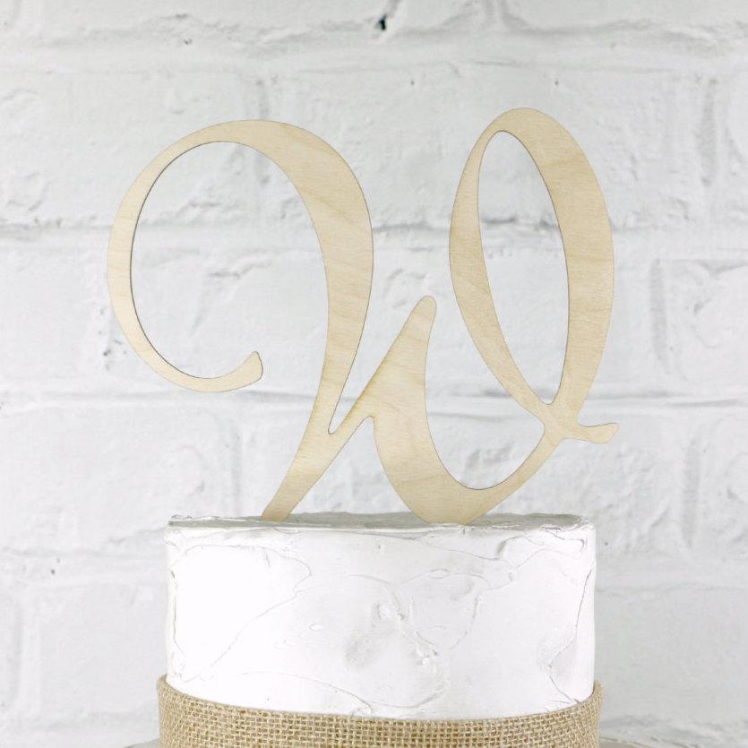 Hochzeit - 6 Inch Rustic Wedding Cake Topper Monogram Personalized in Any Letter A B C D E F G H I J K L M N O P Q R S T U V W X Y Z