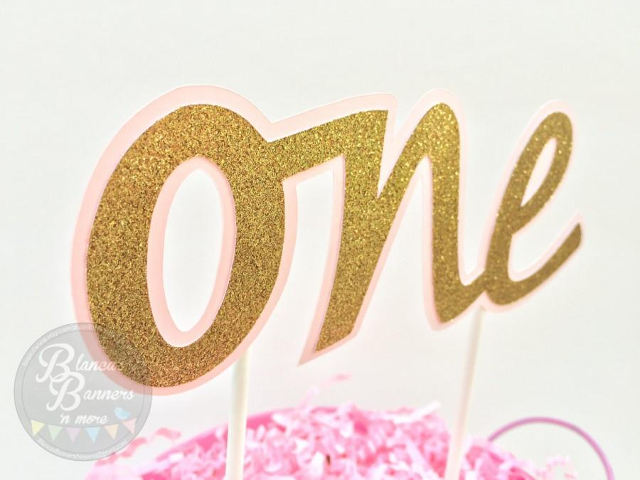 ONE Cake Bunting Topper, Dual Layer Glitter Gold On Light Pink Card ...