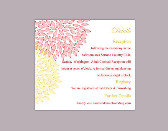 Свадьба - DIY Wedding Details Card Template Editable Text Word File Download Printable Details Card Yellow Hot Pink Details Card Floral Enclosure Card