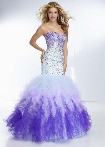 Wedding - 2014 Purple White Ombre Strapless Beaded Mermaid Dress