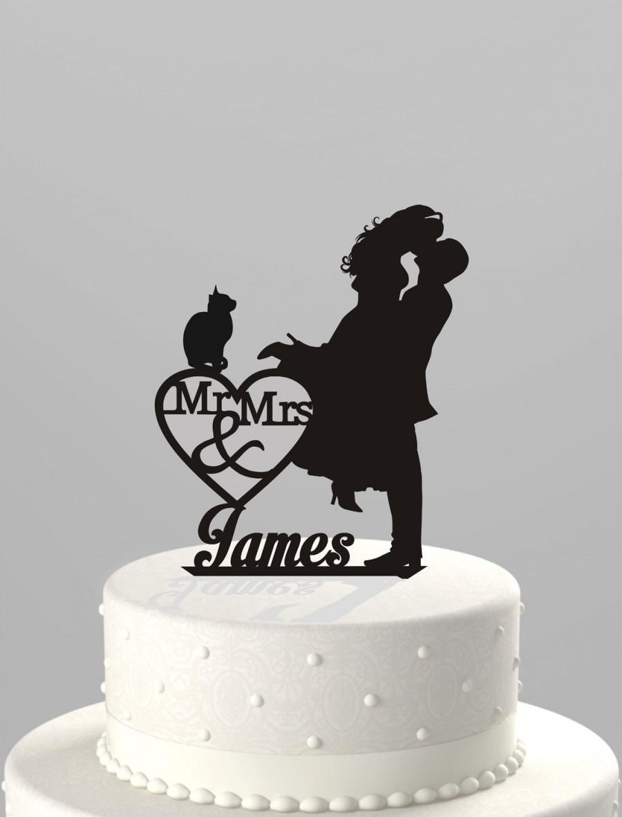 زفاف - Wedding Cake Topper Silhouette Couple Mr & Mrs Personalized with Last Name and Cat, Acrylic Cake Topper [CT4ct]