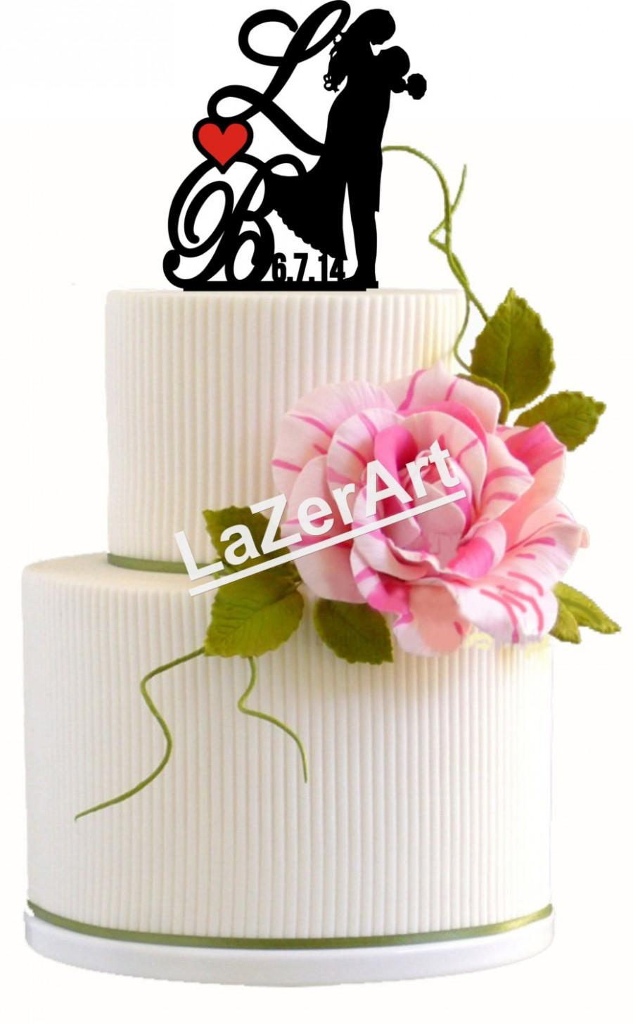 Wedding - Custom Wedding Cake Topper Forever Yours Silhouette Groom and Bride with Initials