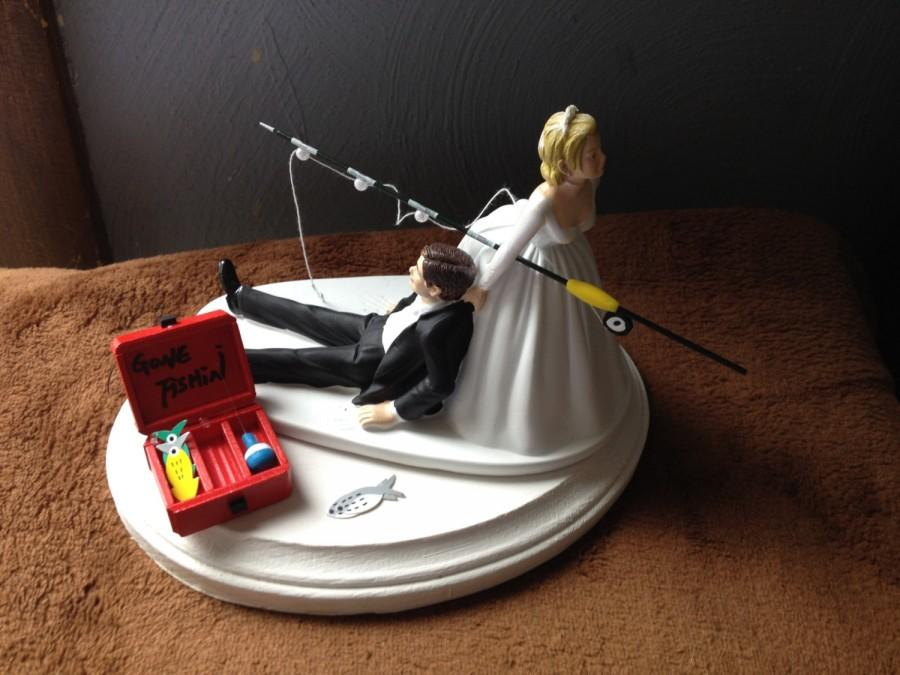 Mariage - Cake Topper Bridal Wedding Day Bride Groom Going Gone Fishing Theme