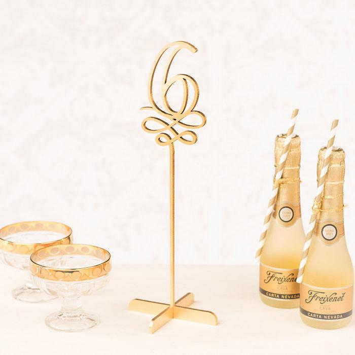 Свадьба - Gold Wedding Table Numbers - Freestanding with base - Soirée Collection