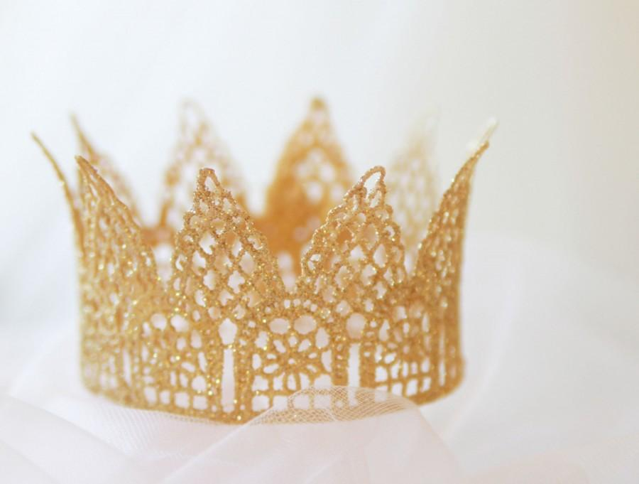 "Свадьба - Lace crown cake topper, ""Princess Grace"" with flair, bachelorette crown, tiara cake topper, photo prop, cake smash, princess party, gold"