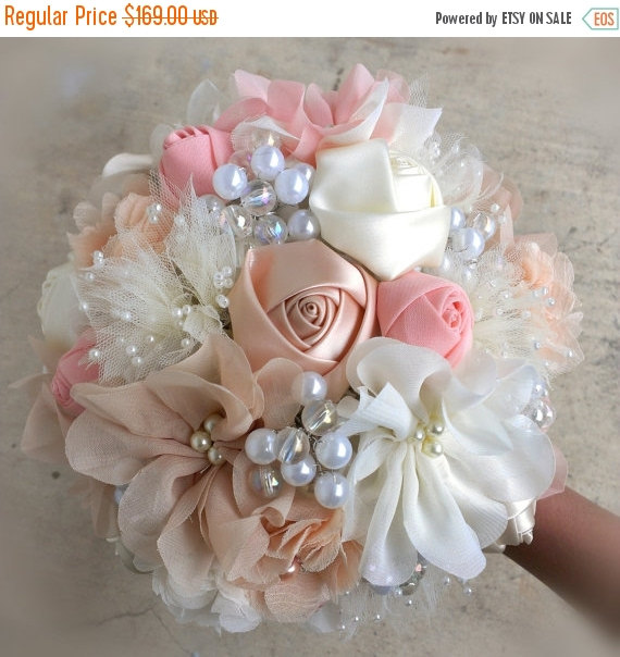 Mariage - THANKSGIVING SALE Romantic Fabric Flower Bouquet With Pearls - Ivory, Peach Blush, Champagne, Cream, OR Your Colors