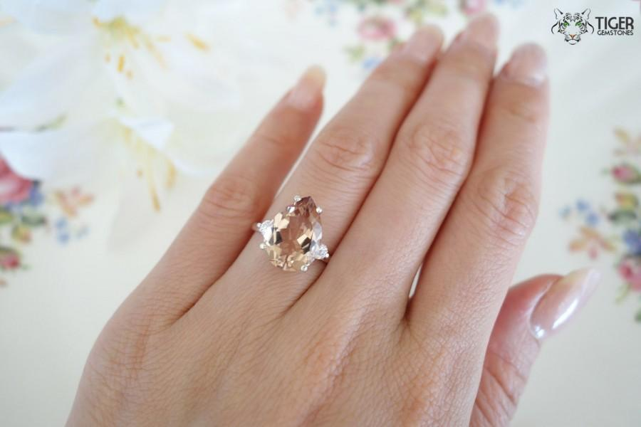 Wedding - SALE 5 Carat Pear Cut, Man Made Peach Morganite and Diamond Simulant, Engagement Ring, Wedding, Gatsby, Hollywood Glam, Sterling Silver