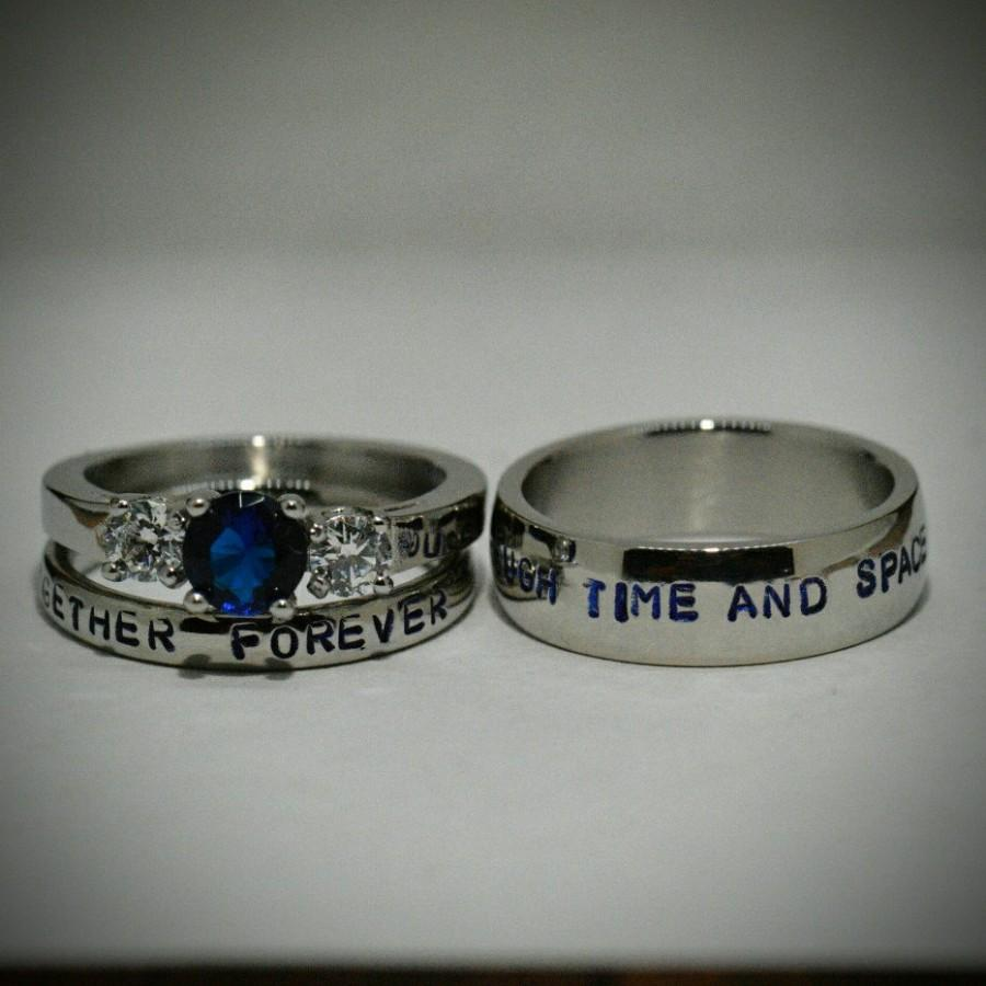 Sapphire And Steel Wedding Ring Set