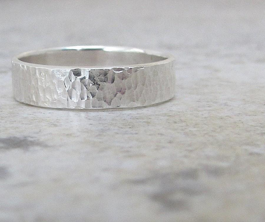Mens Wedding Band Hammered Silver Wedding Ring Distressed Silver