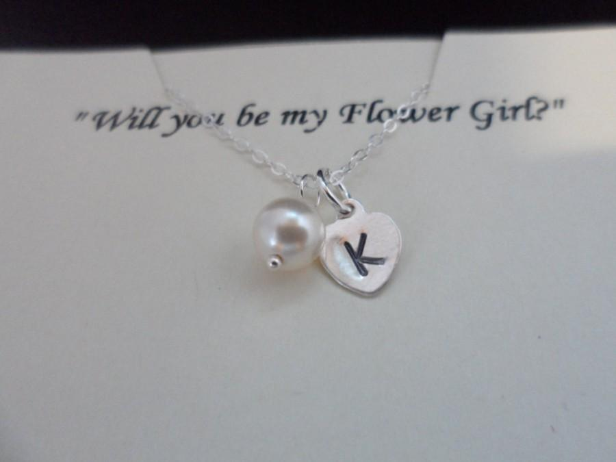 Mariage - SALE - Will You Be My Flower Girl? - Sterling Silver Initial Heart Charm and Pearl Necklace, Wedding Jewelry, Flower Girl Gift
