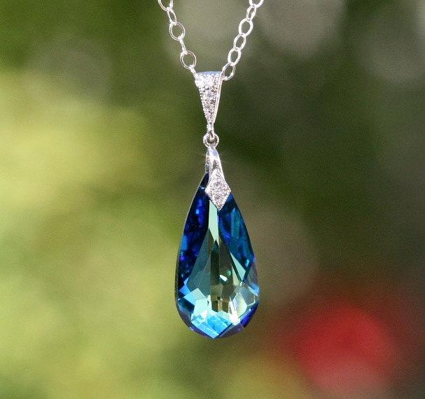Genuine swarovski sterling silver blue teardrop necklace genuine swarovski sterling silver blue teardrop necklace swarovski blue pendant peacock necklace bridal necklace bridesmaid gift dk368 mozeypictures Choice Image