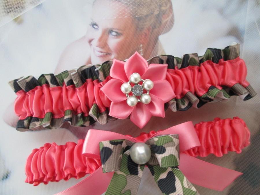 Wedding - Coral CAMO Wedding Garter Set, Coral PROM Garters, Coral Pink Garters, Army / Patriotic / Military Camo Weddings