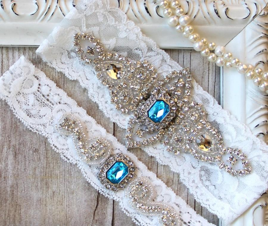 Свадьба - CUSTOMIZABLE Garter Set - Wedding Garter w/ toss - Turquoise Blue Garter, Something Blue, Crystal Garters, Bridal Garter, Rhinestone