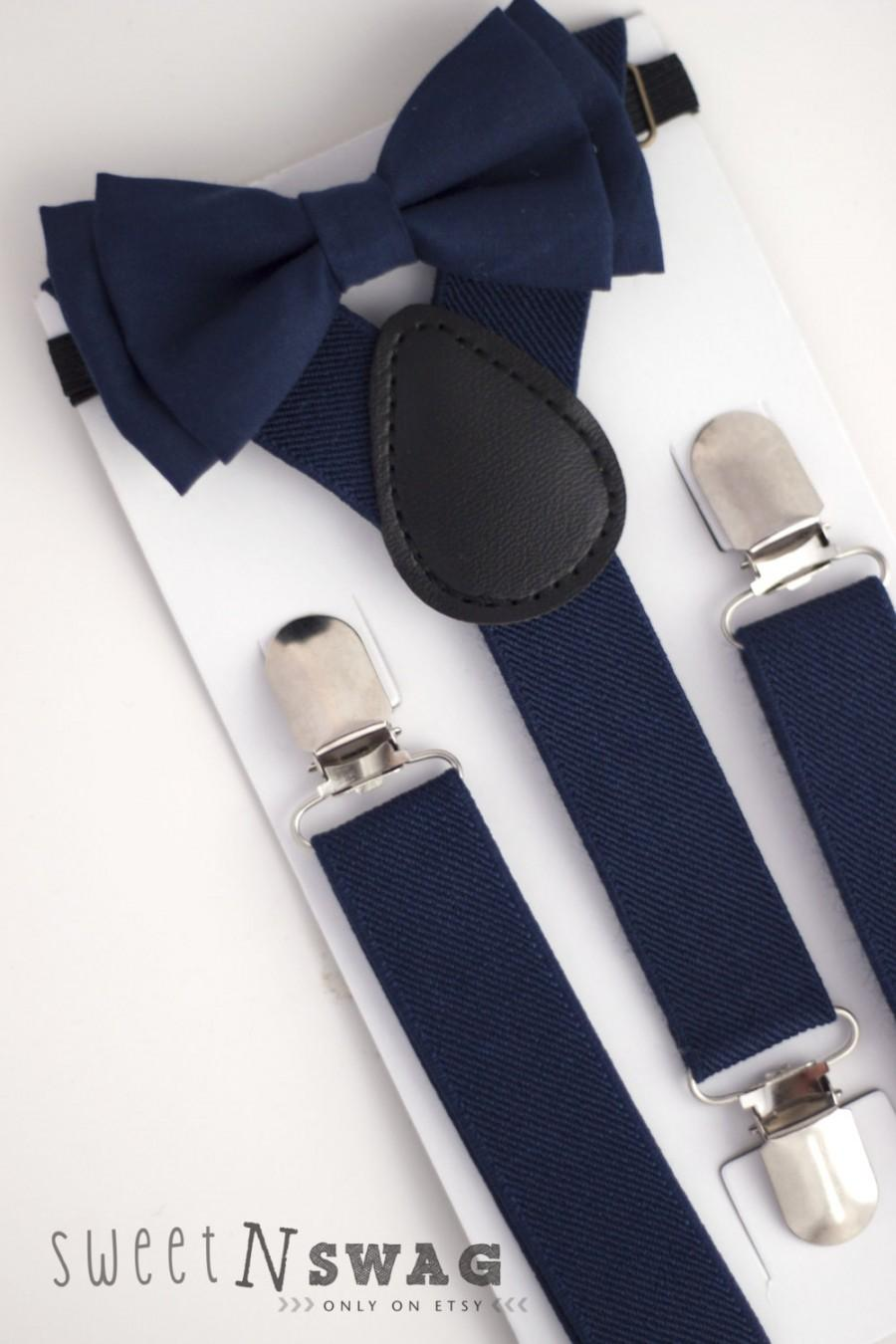 Hochzeit - SUSPENDER & BOWTIE SET.  Newborn - Adult sizes. Navy Blue Suspenders. Navy Blue bowtie