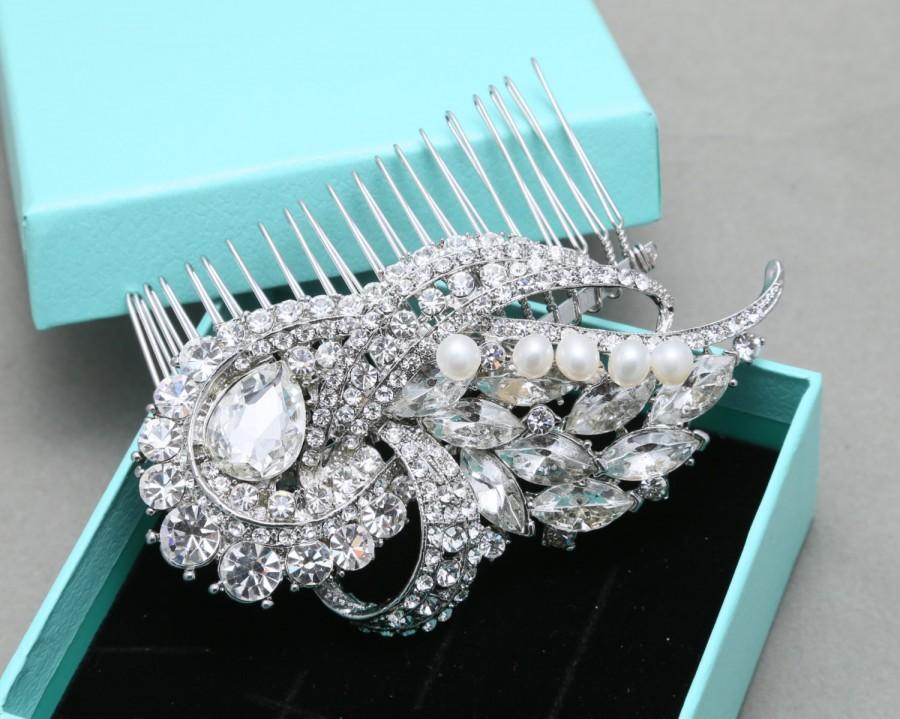 Свадьба - Bridal Hair Comb, Wedding Hair Comb, Vintage Style Hair Comb, Rhinestone Crystals Hair Comb, Freshwater pearls Hair Comb, Alligator Clip
