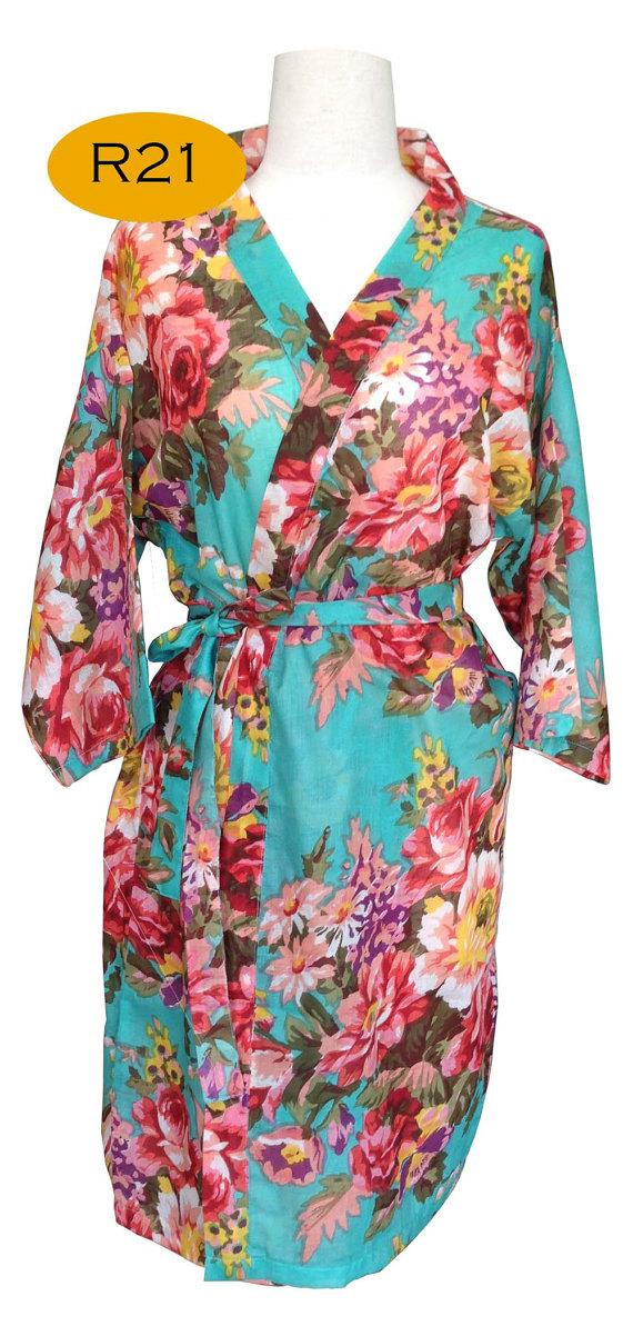 Wedding - Mint Green Bridesmaids Robe Kimono Crossover Robe Bridesmaids gifts Getting ready robes Bridal Party Robes Floral Robes Dressing Gown