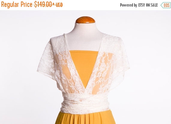Mariage - 25% Off Black Friday White Lace Mustard short dress, reception dress, Infinity dress, romantic lace dresses, maid of honor dresses, weddings