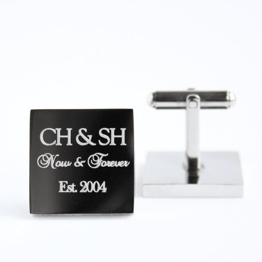 "Свадьба - Engraved personalized square silver cufflinks - Christmas, Anniversary, wedding, couple monogram cufflinks ""Now & Forever"" (stainless steel)"
