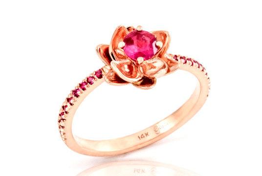 زفاف - Ruby Ring, Ruby Engagement Ring, Flower Engagement Ring, Flower Ring Gold, Rose Gold Ring, Flower Wedding Band, Gift, christmas jewelry