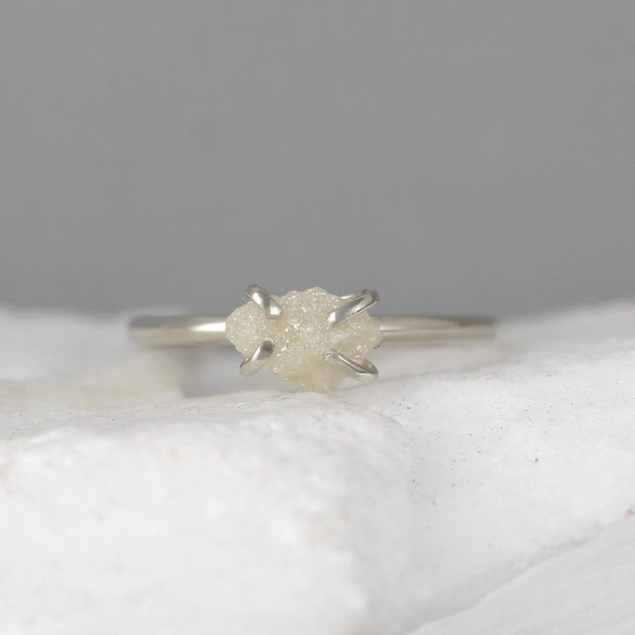 Hochzeit - Raw Uncut Rough Diamond Solitaire Engagement Ring - 14K White Gold - Rough Diamond Gemstone Ring - April Birthstone - Anniversary Ring
