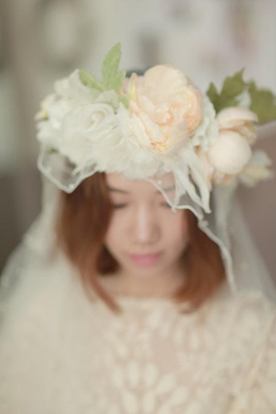 زفاف - Bridal silk floral crown ,silk flower halo