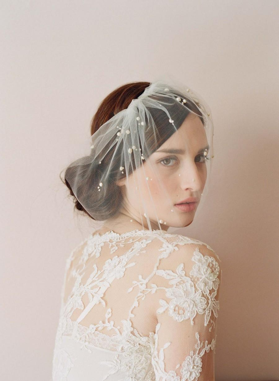 زفاف - Bridal tulle veil with pearl beads - Mini tulle veil with pearls - Style 212 - Ready to Ship