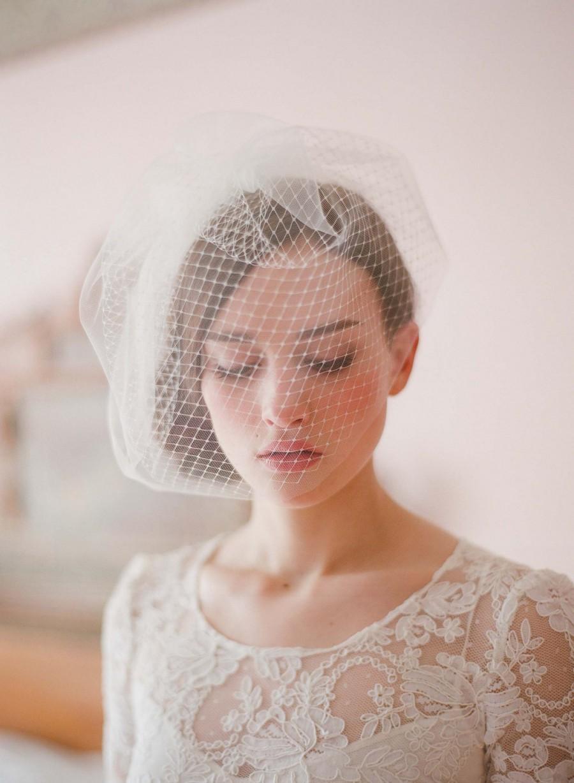 زفاف - Bridal birdcage veil - Double layer full birdcage veil - Style 213 - Ready to Ship