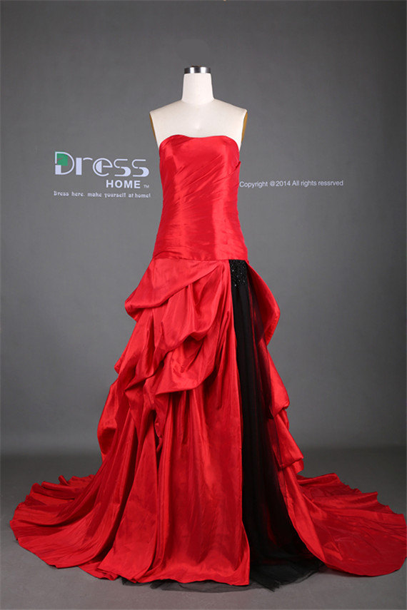 Mariage - Sexy Red Sweetheart Ruched High Split Front Black Tulle Long Prom Dress/Red and Black Evening Dress/Reception Dress/A Line Prom Dress DH282