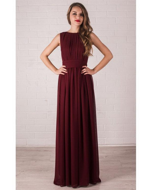 Mariage - Floor Length Evening Dress Marsala. Chiffon Dress Bridesmaid.
