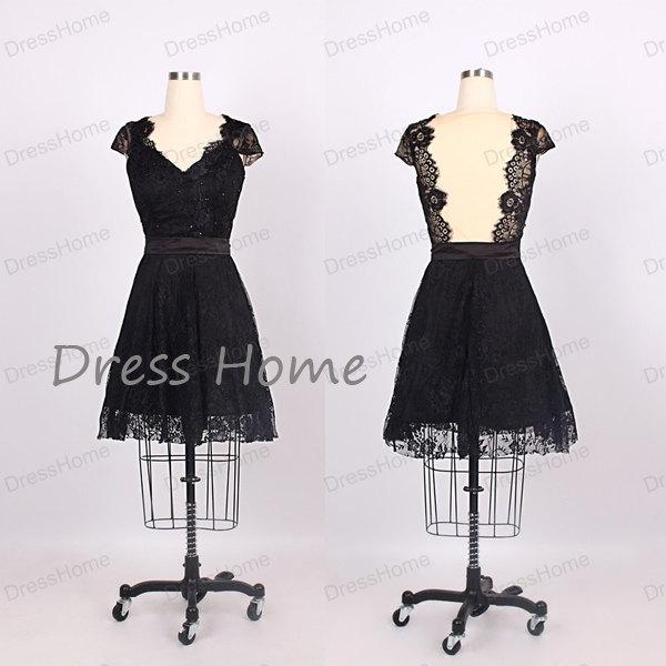 Mariage - Black V Neck Cap Sleeves Lace Homecoming Dress/Short Lace Prom Dress/Bridesmaid Dress/Wedding Party Dress DH179