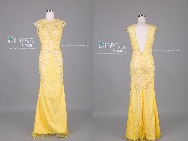 Yellow cap sleeve lace applique open back mermaid prom dress sexy